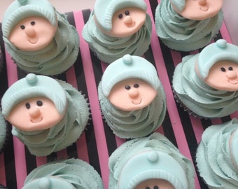 Baby Shower Baby Face Cupcake/Cake Toppers