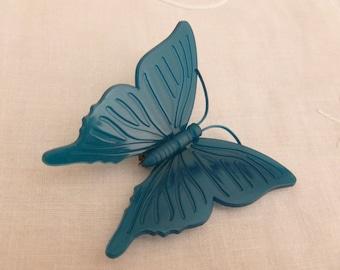 Vintage Danish Teal Plastic Butterfly Brooch Signed KD Denmark Danish Ketty Dalsgaard
