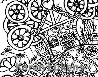 Happyville Cottage, 1 Adult Coloring Book Page, Printable Instant Download