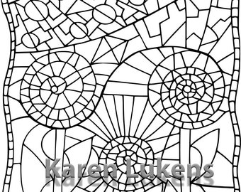 Mosaic Flower, 1 Adult Coloring Book Page, Printable Instant Download