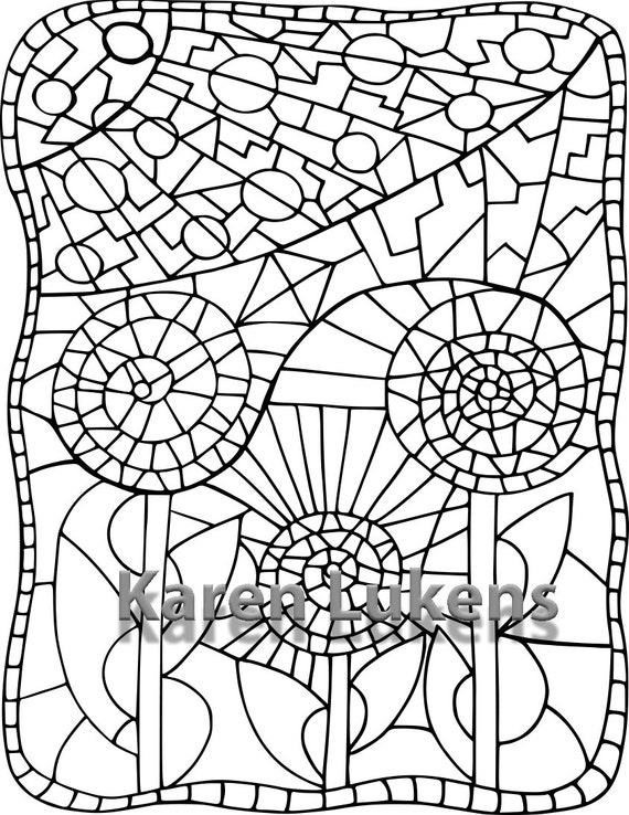 flower mosaic coloring pages | Mosaic Flower 1 Adult Coloring Book Page Printable Instant