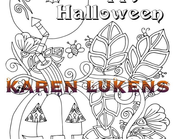 Featured listing image: Happy Halloween, 1 Adult Coloring Book Pages, Printable Instant Download, digital stamps,Karen Lukens