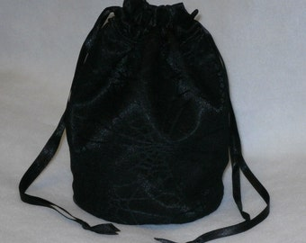 Black Satin & Black Gothic Spider Web Lace Dolly Bag Evening Handbag / Purse Prom Halloween Costume