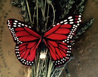 Red Monarch butterfly hair clip
