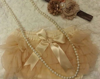 Diaper cover matching pearl and headband set
