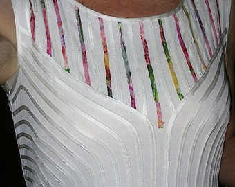 As new stunning white stretch jersey colourful ribbon embellished dress fitted beautiful dress by IKA size: 10
