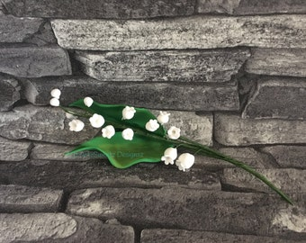 Lily of the Valley Flower Cake Decoration Spray Bunch with Leaves Gumpaste Wedding Flower