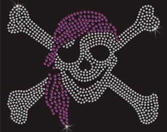 Pirate Skull And Crossbones Rhinestone Applique