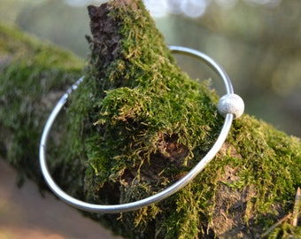 Sterling Silver Bangle with Sparkly Silver Bead