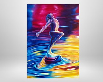 Jump in the life 1,Männer nude, original oil painting, fantasy, surrealism, painting, unique characters, colorful, painting, man