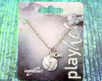Customizable Volleyball Mom Enamel Necklace - Personalize with Jersey Number, Heart Charm, or Letter Charm! Great Volleyball Gift!