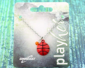 Customized Enamel Basketball Necklace - Personalize with Jersey Number, Heart Charm, or Letter Charm! Great Basketball Gift!