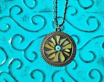 Sunburst Yellow Stained Glass Pendant Necklace/Boho Necklace/Abstract Necklace
