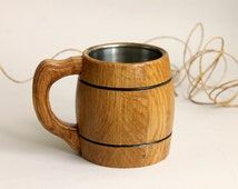 Small Beer Mug with Metal Inside Made of Wood Eco Friendly Oak