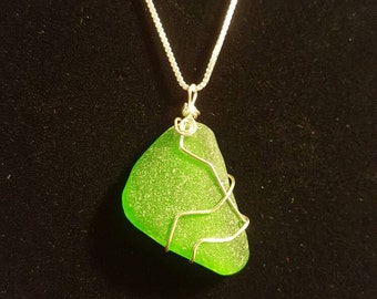 Green Beach Glass Necklace -Sterling Silver