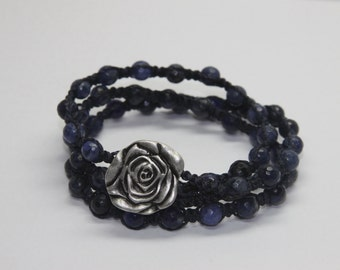 Blue Sodalite and Metal Rose