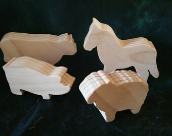 Set of 4 Large Chunky Farm Animals- 017