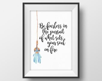 Boho Wall Decor, Inspirational Quote Printable, Motivational Poster, Tribal Wall Art, Hanging Amulet Print, Be fearless in the pursuit