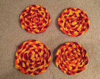 Autumn Leaves T-shirt Rag Dish Trivets-Set of Four