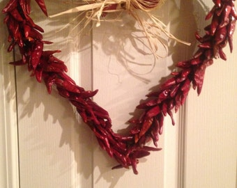 Rustic Chile Heart Wreath