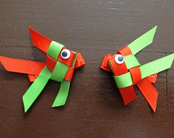 Origami Fish Ribbon Sculptures/ Hair Bows