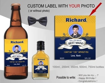 Groomsmen beer bottle labels printable. Will you be my best man beer label. Custom beer labels with photo. Wedding liquor labels.  Thank you