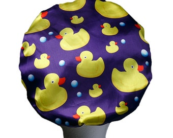 Ducks Luxury MICROFIBRE Lined Shower Cap Ultra Protective Bath Hat Adults / Teenager / Kids Shower Caps