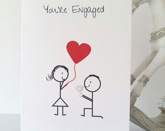 Engaged card, you are engaged, engagement, love, couple, wedding, marriage, bride to be, groom to be, handmade, ireland