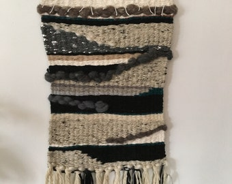 Wall weaving/wall hanging neutrals with teal and metallics