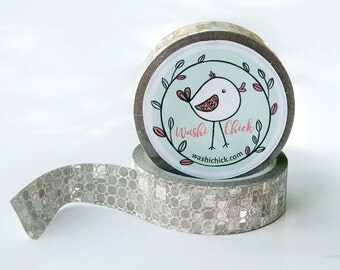 Silver Washi Tape - 1 roll, 15mm x 10m, silver sequin-like surface, shiny tape, glittery surface