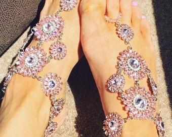 LUXE SILVER CRYSTAL Barefoot Sandals, Crystal Anklet, Foot Jewellery, Crystal Toe & Anklet Bracelet - pink