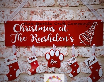 Personalised Christmas Plaque / Christmas Family Wall Name / Personalised Family Decoration / Family Stockings
