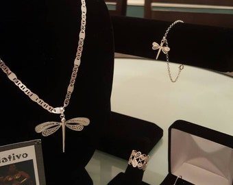 Filigree Handmade dragonfly set from Mompox Colombia !!! 30% DISCOUNT ALL ITEMS!!