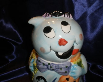 vintage Halloween Ghost Cookie Treat Jar Cute!
