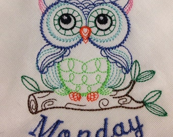 Owl Complete Set of the Days of the Week Embroidered Flour Sack Towels