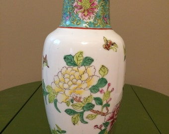 Vintage floral vase Hong Kong hand painted - teal and white porcelain - bright colors
