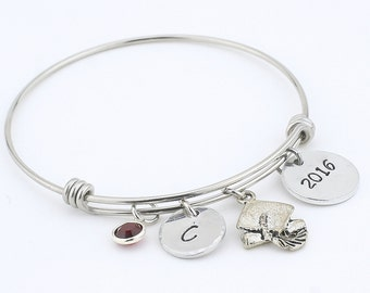 Bangle, Graduation Bangle, Bangle Bracelet, Hand stamped, Graduation gift, Grad, 2017, custom gift, personalized gift, women's bracelet