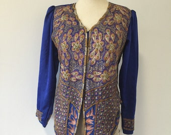 Vintage Ethnic Beaded & Embroidered Blue Indian Puff Sleeve Jacket