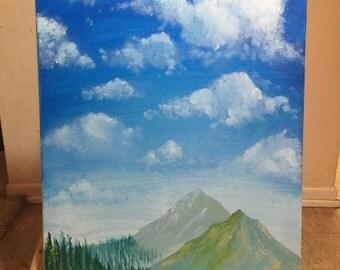 Mountain Sky Acrylic Painting