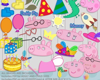 Pink Pig & Family Photo Booth Props