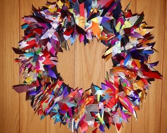 Multicoloured Rainbow Statement  Eco Wreath