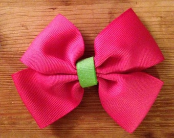 Bright Pink and Green Bow