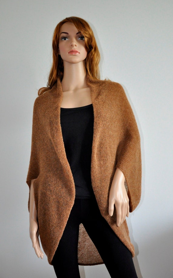 Batwing Cardigan Handmade Copper Cozy Wool Cardigan Knit loose cardigan oversized shrug for women Boho Sweater Cocoon coat wrap jacket Wool