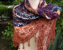 Shawl triangle crochet scarf Frings triangle towel