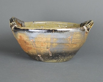 Bowl, oval with lugs, wood fired stoneware