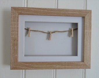 Photo Display Frame with String and Pegs