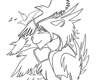 Furry Crow Queen Coloring Page