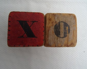 Very Old Vintage Toy Blocks - X and O