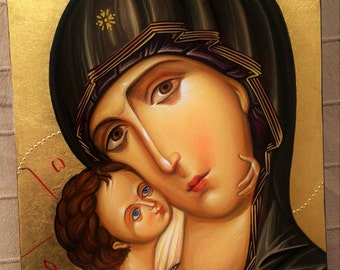Hand painted Mother of God Icon, Mary and Jesus painting, religious art, home altar decor, Madonna and Child Icon, Christian Art, Byzantine