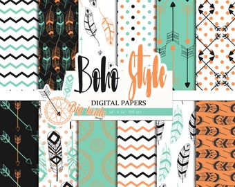 50% OFF SALE  Boho Digital Paper pack, feather and arrow digital paper, Scrapbook Paper page, pattern, Printable Background, 12 JPG, 300dpi.